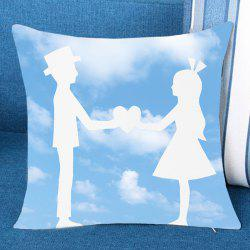 Blue Sky and Lover Print Pillow Case -