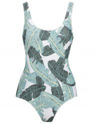 Backless Leaves Print Plus Size Swimsuit -