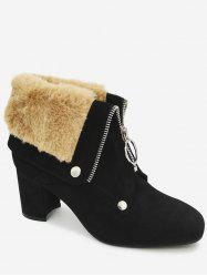 Front Zip Fur-lined Foldover Ankle Boots -