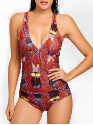Plunge Neck Cross Back Printed Swimsuit -