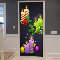 Christmas Candles Balls Pattern Door Cover Stickers -