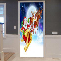 Christmas Santa Deer Sleigh Pattern Door Cover Stickers -