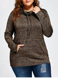 Plus Size Drawstring Long Sleeve Cowl Neck Top -