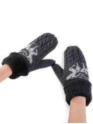 Cute Elk Pattern Embellished Rhinestone Knitted Gloves -