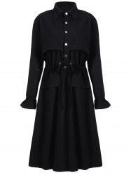 Plus Size Long Drawstring Trench Coat -