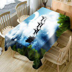 Christmas Elk Flying to the Moon Print Fabric Table Cloth -
