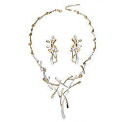 Branch Shape Chainsaw Necklace and Clip Earrings -