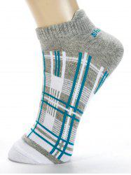 Pair of Irregular Cross Stripe Pattern Cotton Ankle Socks -