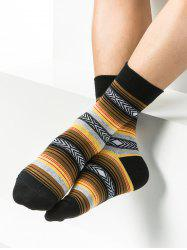 Pair of Rhombus and Striped Pattern Embellished Tube Socks -