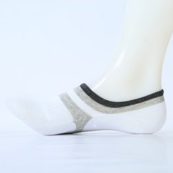 Stripe Pattern Embellished Cotton Ankle Socks -