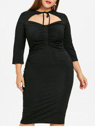 Cut Out Plus Size High Waist Bodycon Dress -