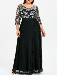 Plus Size Floral Sequined Maxi Prom Dress - Black - 5xl