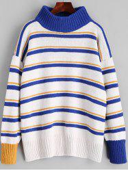 Turtleneck Stripes Pullover Sweater -