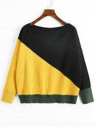 Slash Neck Color Block Pullover Sweater -