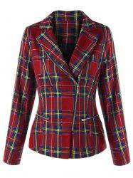 Zip Fly Plaid Jacket -