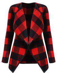 Plus Size Plaid Drape Coat -