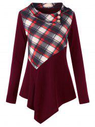 Plaid Panel Long Sleeve Irregular T-shirt -