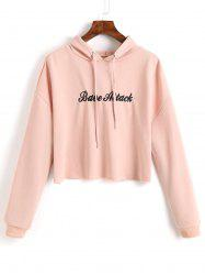 Letter Embroidered Crop Hoodie -