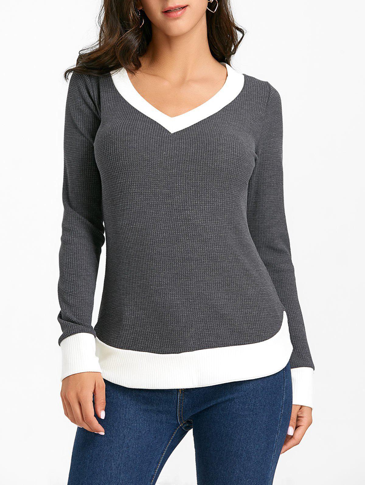 Affordable Contrast Hem V Neck Knitwear