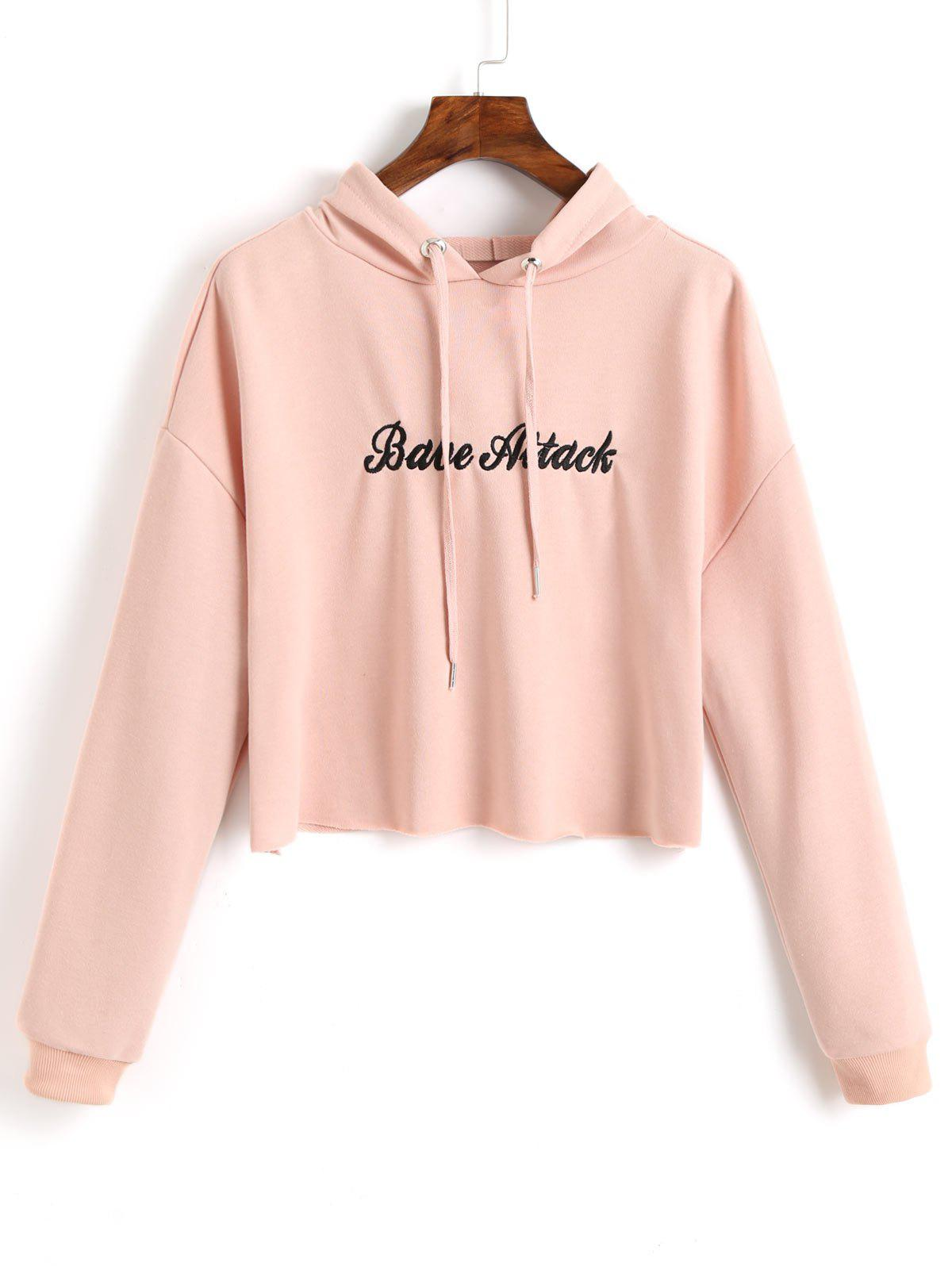 Trendy Letter Embroidered Crop Hoodie