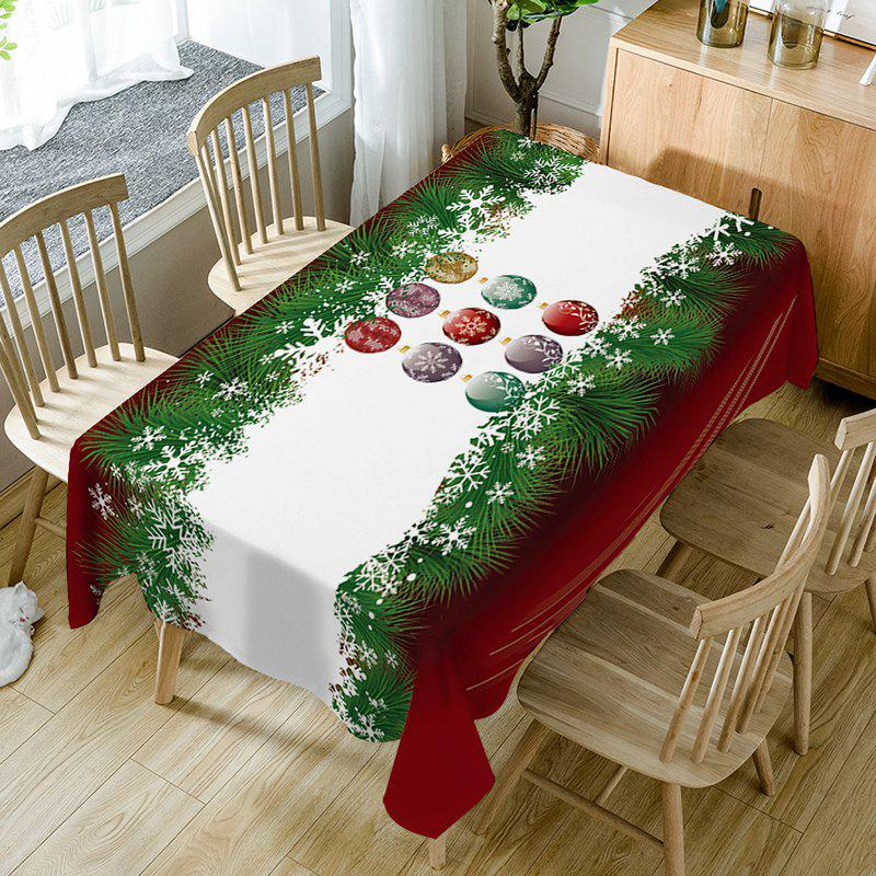 Chic Christmas Baubles Pine Print Fabric Waterproof Table Cloth
