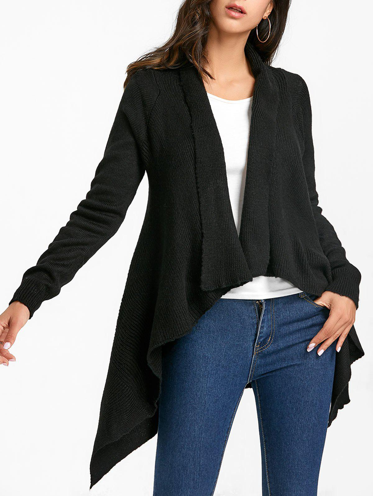 Hot Shawl Collar Asymmetric Knitted Cardigan