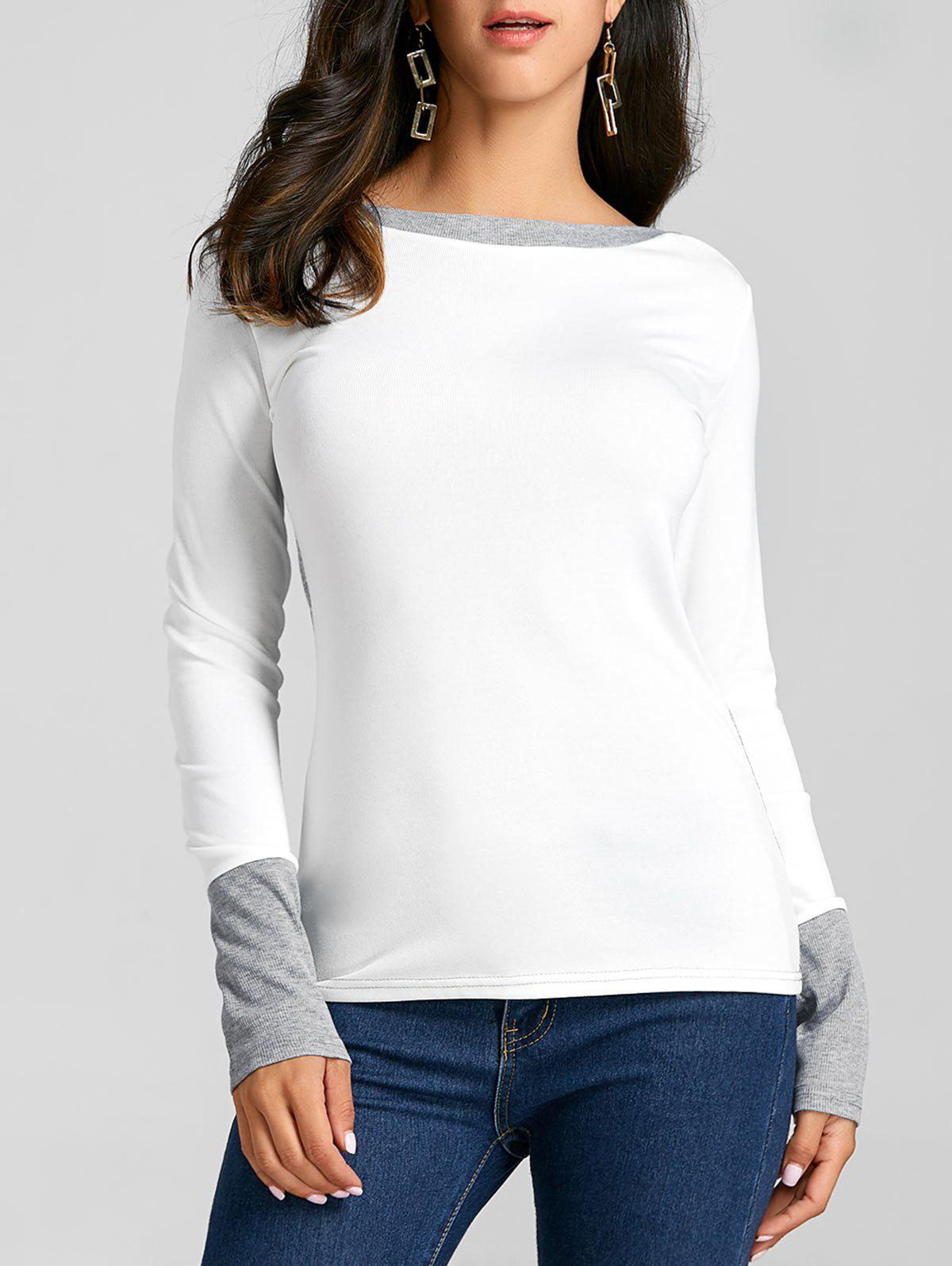 Affordable Color Block Boat Neck Knit Top