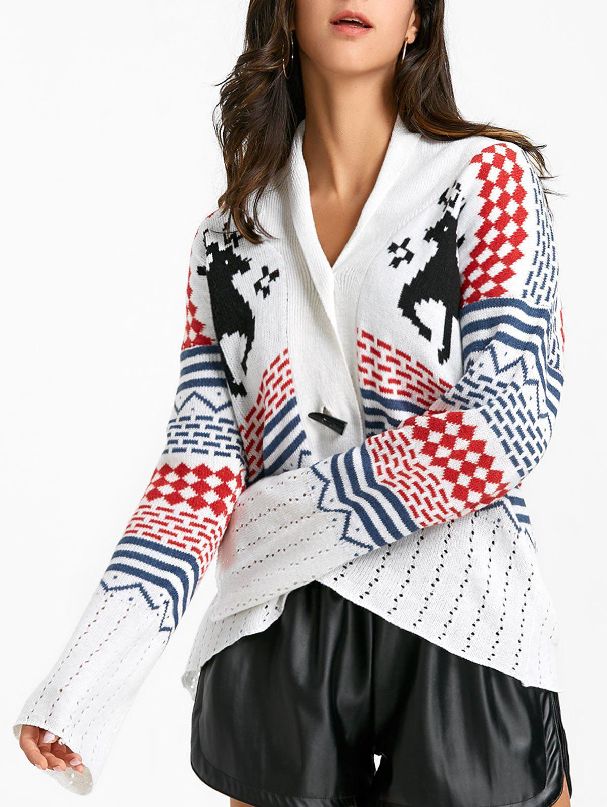 Latest Christmas Deer Jacquard Horn Button Knitted Cardigan