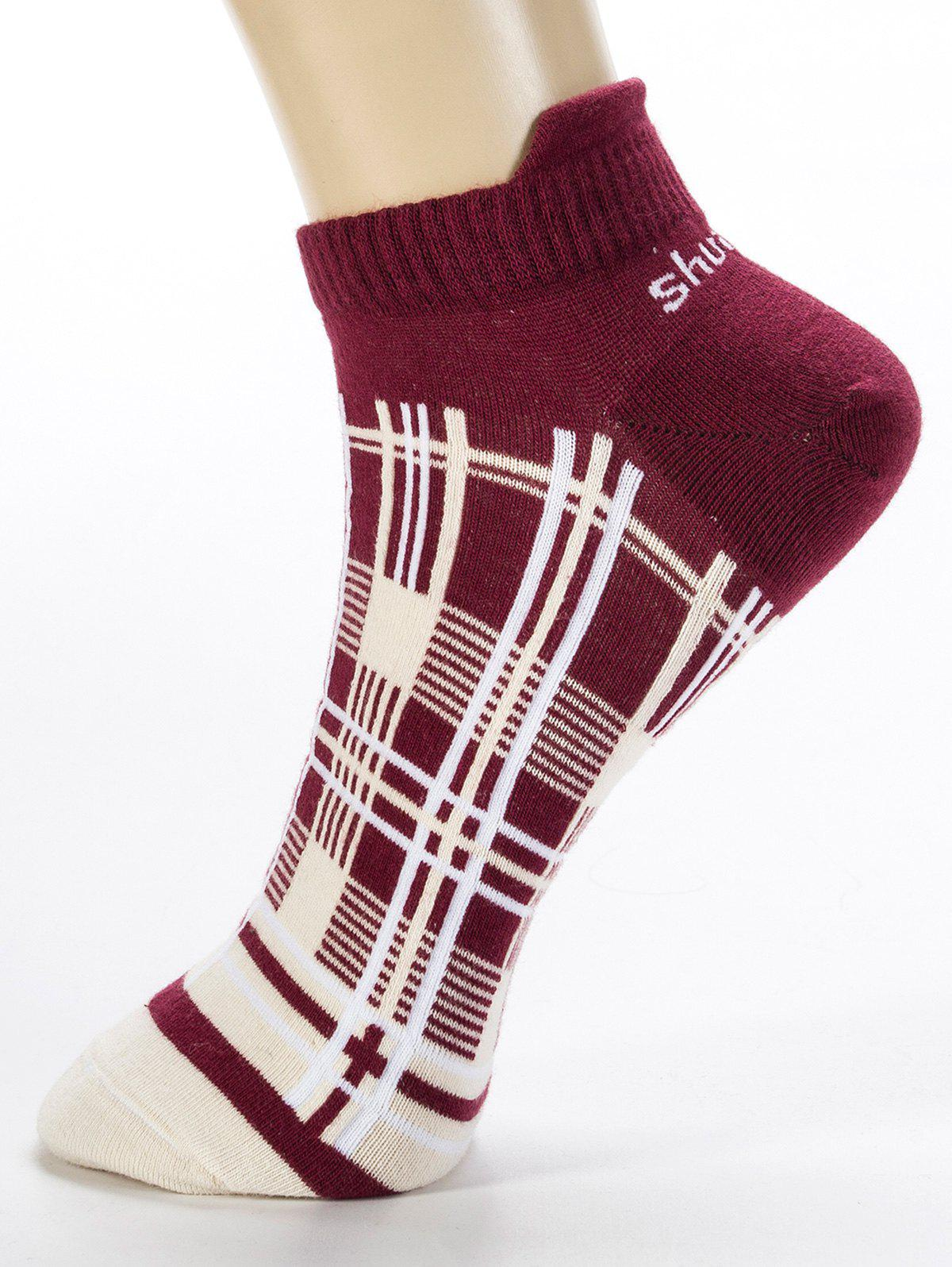 Cheap Pair of Irregular Cross Stripe Pattern Cotton Ankle Socks