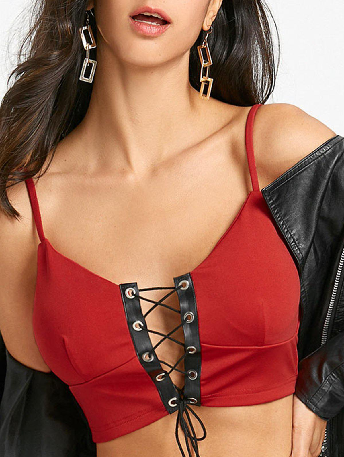 Affordable Padded Lace Up Camisole