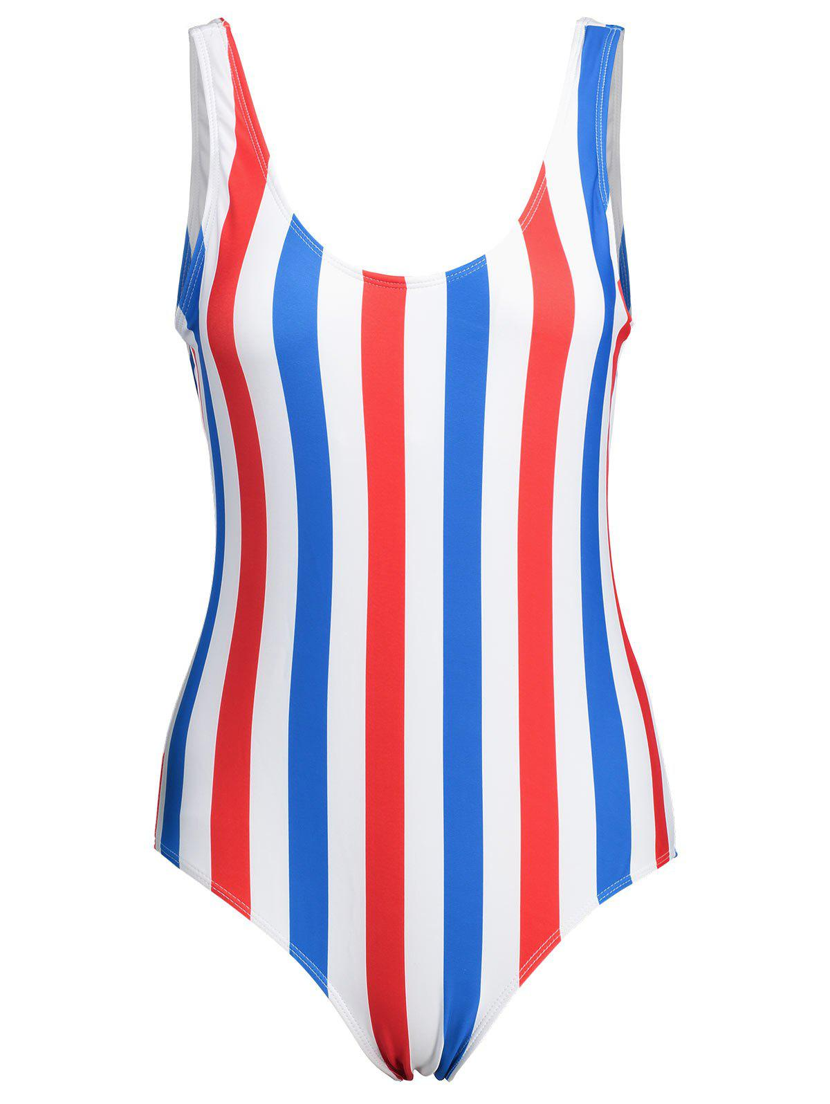 Affordable Stripe Plus Size Backless Swimsuit