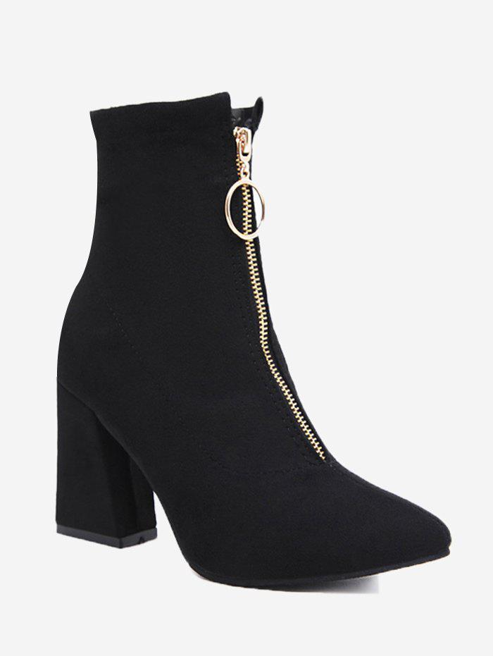 Pointed Toe Chunky Heel Front Zip Boots