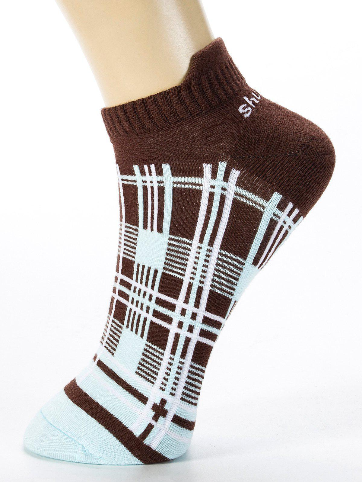 Outfits Pair of Irregular Cross Stripe Pattern Cotton Ankle Socks