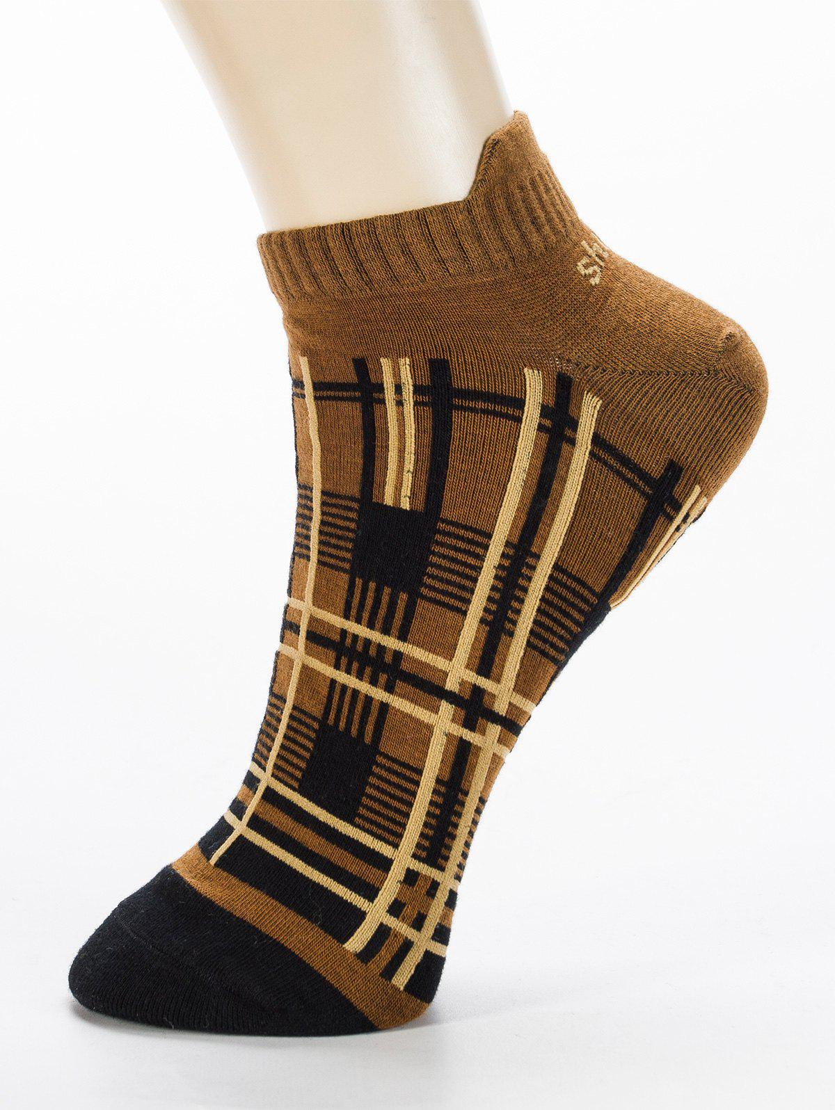 Sale Pair of Irregular Cross Stripe Pattern Cotton Ankle Socks