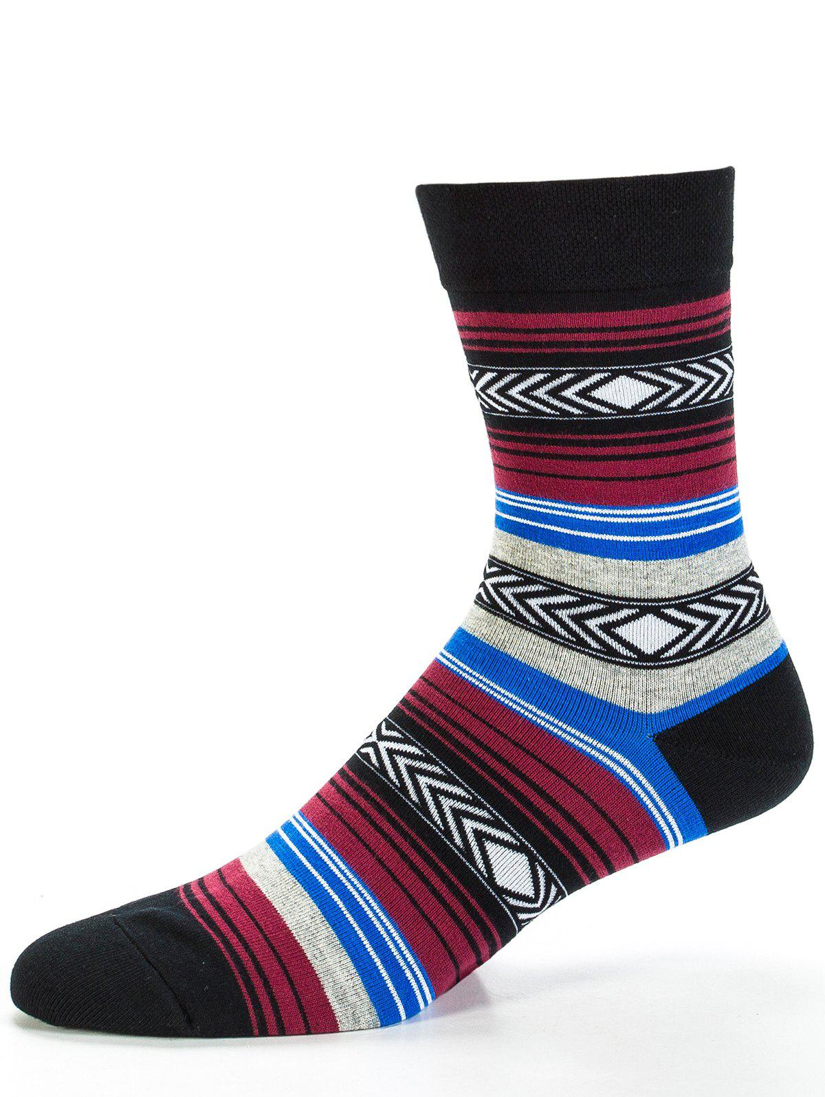 Sale Pair of Rhombus and Striped Pattern Embellished Tube Socks