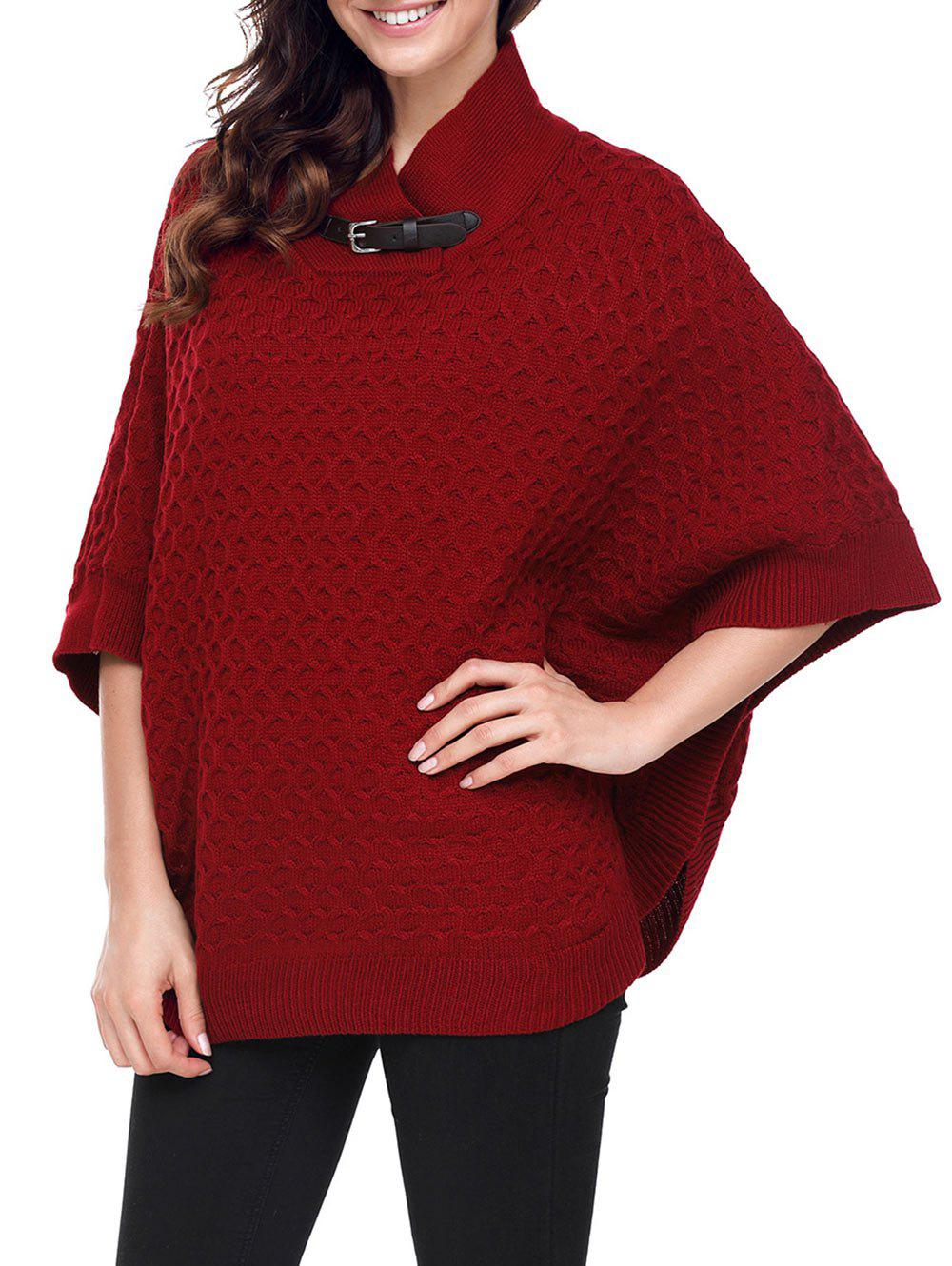 Hot Buckle Strap Knitted Cape Sweater