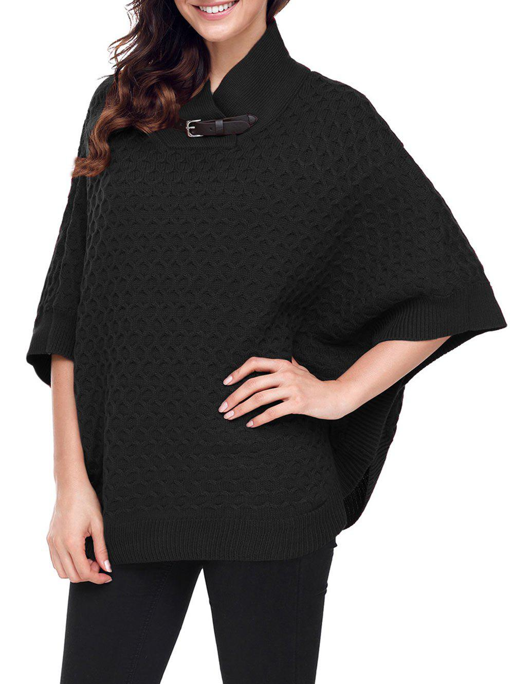 New Buckle Strap Knitted Cape Sweater