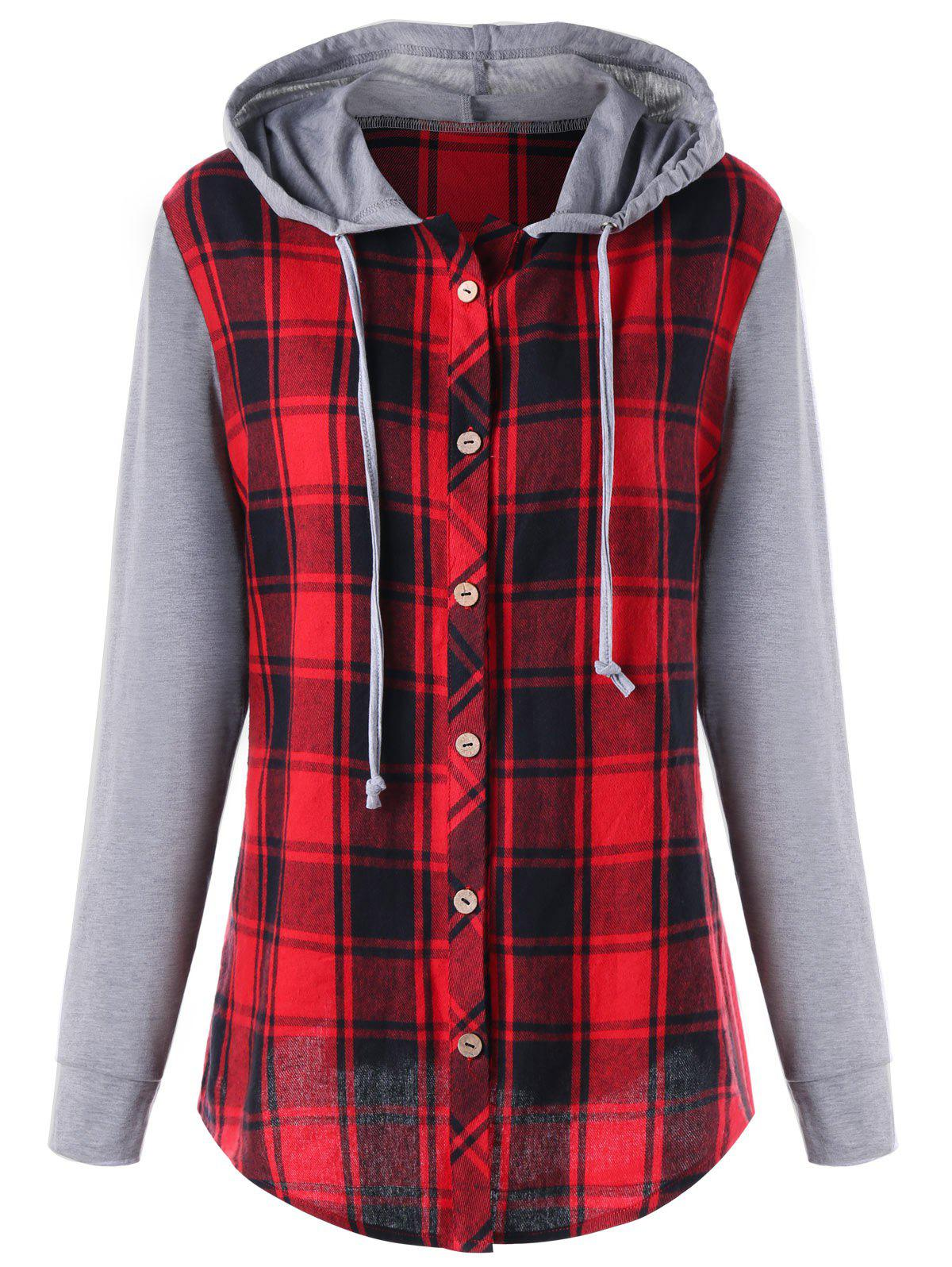 Cheap Plus Size Hooded Long Sleeve Plaid Panel Top