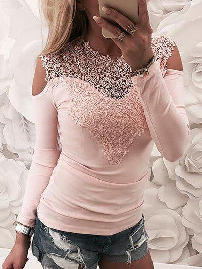 Store Lace Openwork Cold Shoulder Top