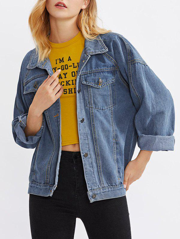 Cheap Drop Shoulder Denim Pocket Jean Jacket