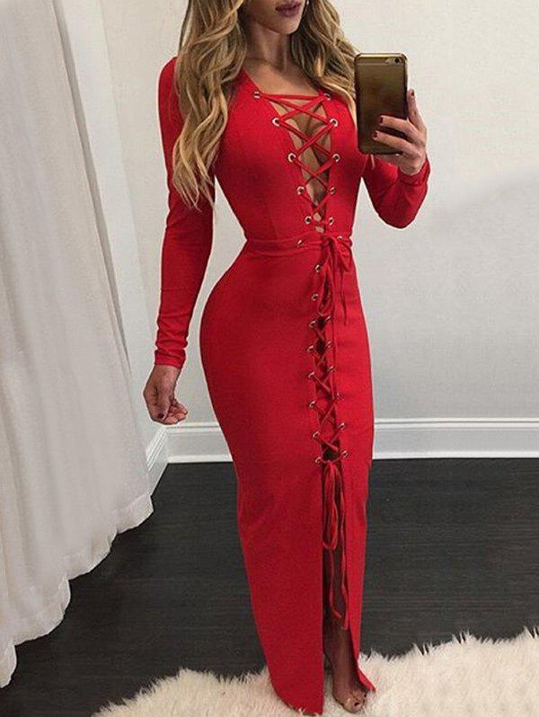 Latest Maxi Lace-up Long Sleeve Bodycon Dress