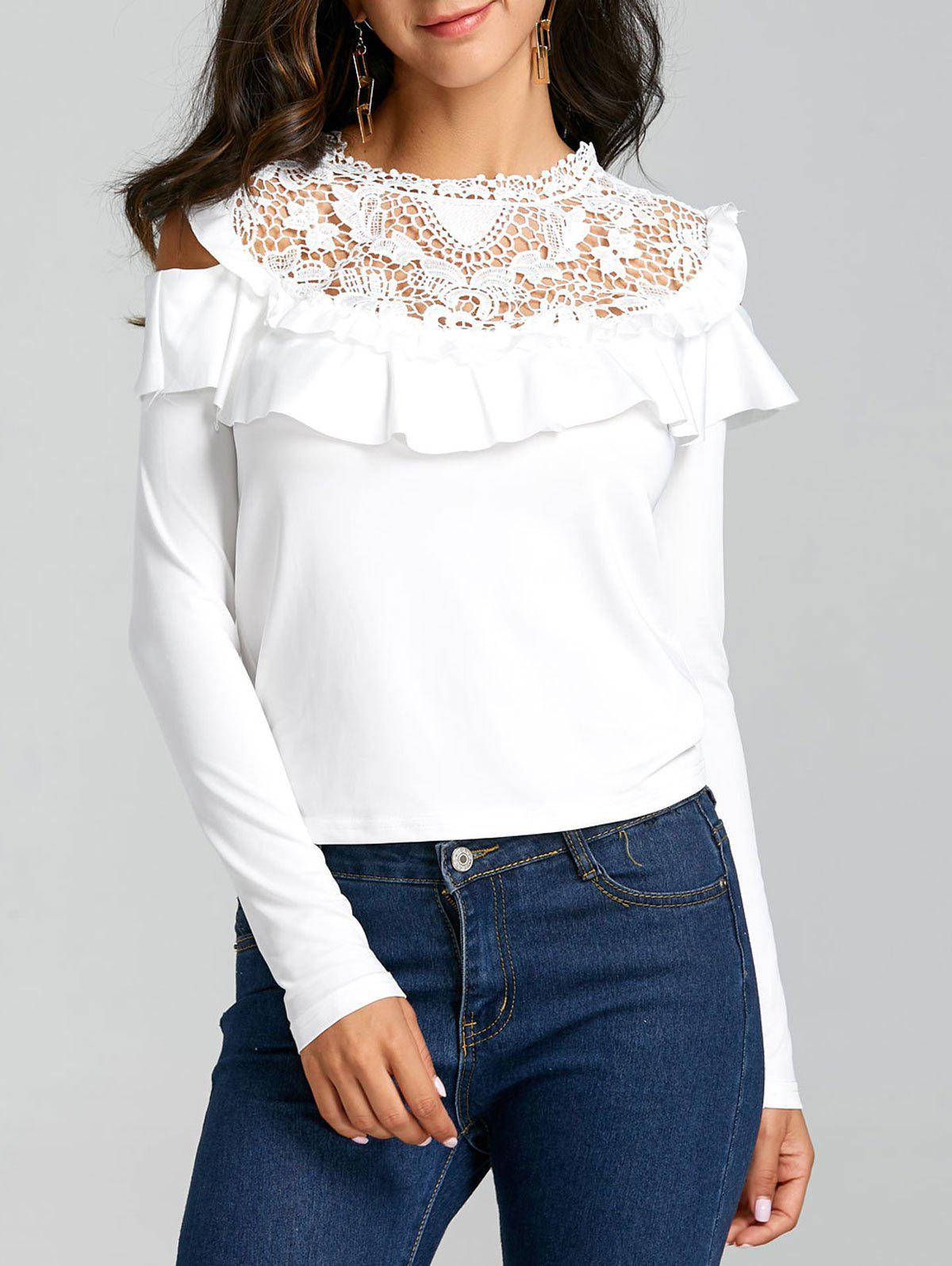 Latest Ruffle Hollow Out Open Shoulder Blouse