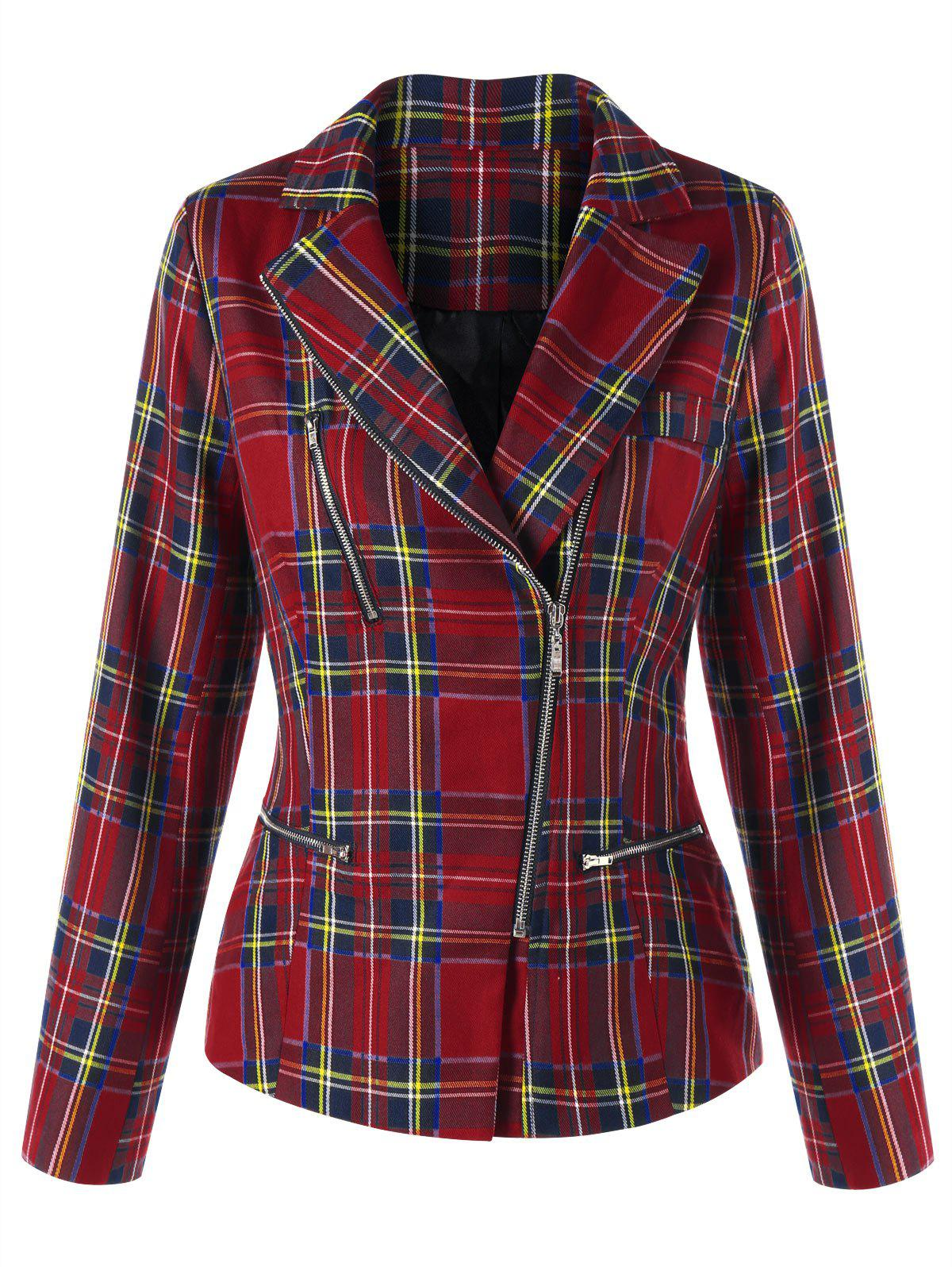Shops Zip Fly Plaid Jacket