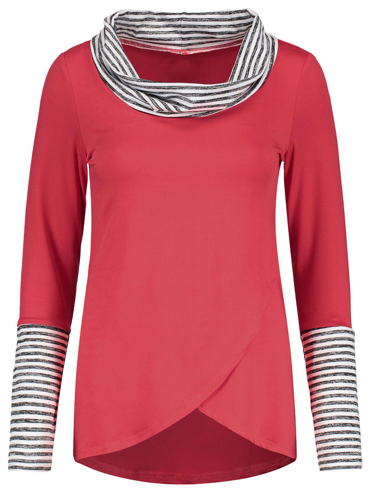 Outfits Cowl Neck Stripe Insert Long Sleeve Tee