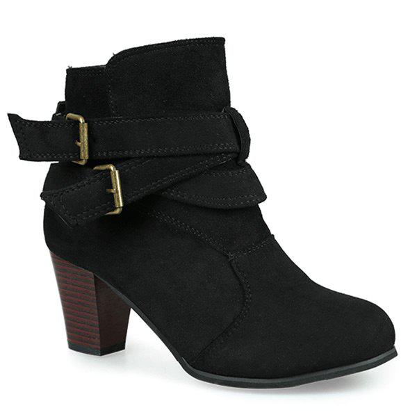 a99c2bec4cc Cone Heel Buckle Strap Faux Suede Ankle Boots