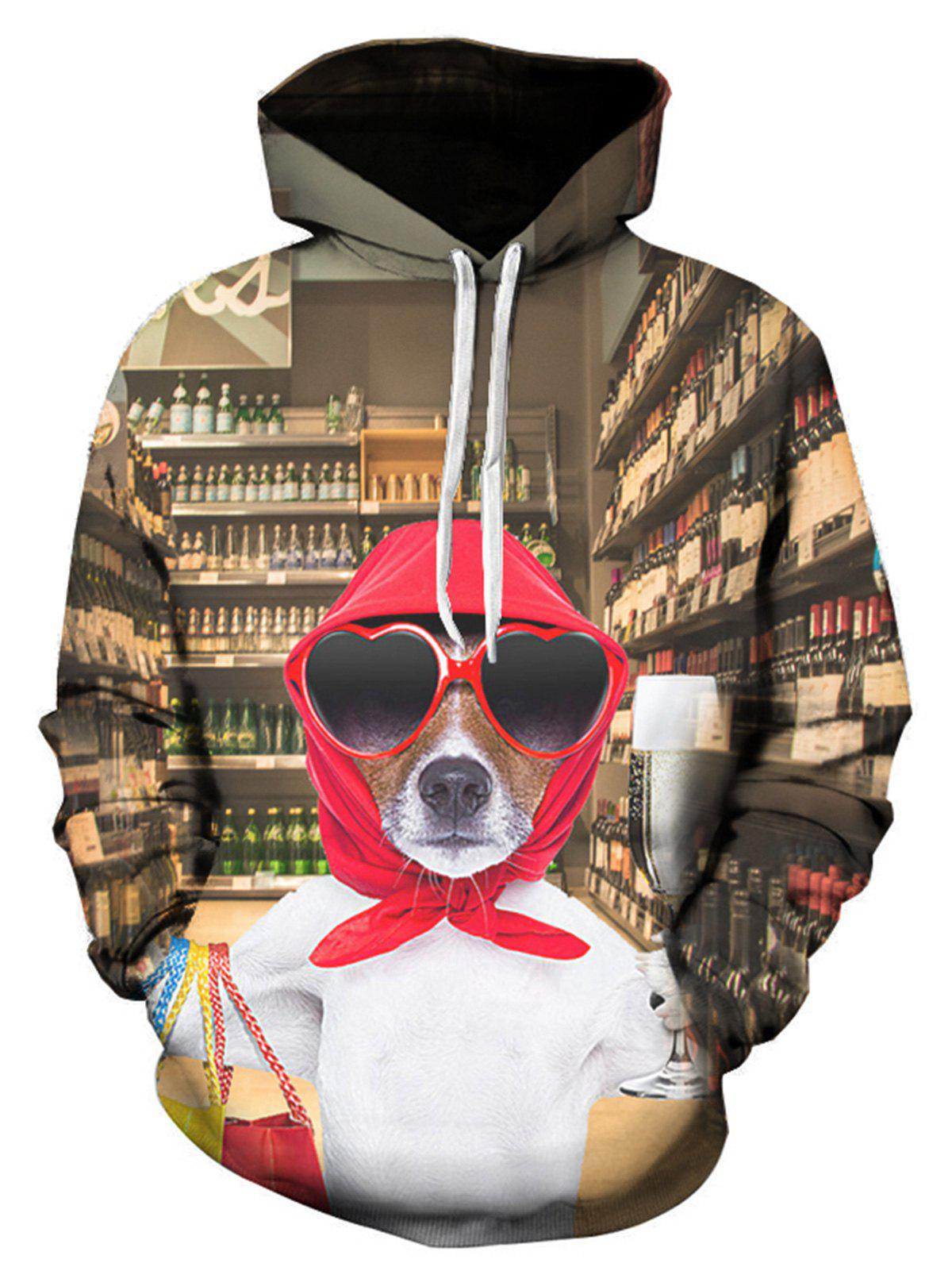 ca5860489b48 2018 3d Doggie Print Pullover Hoodie In Colormix 5xl