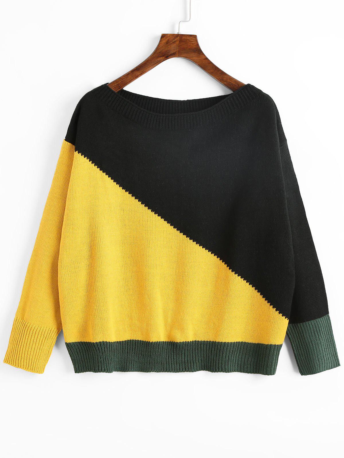Latest Slash Neck Color Block Pullover Sweater