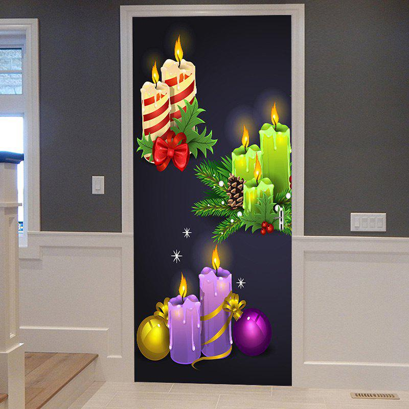 Fancy Christmas Candles Balls Pattern Door Cover Stickers