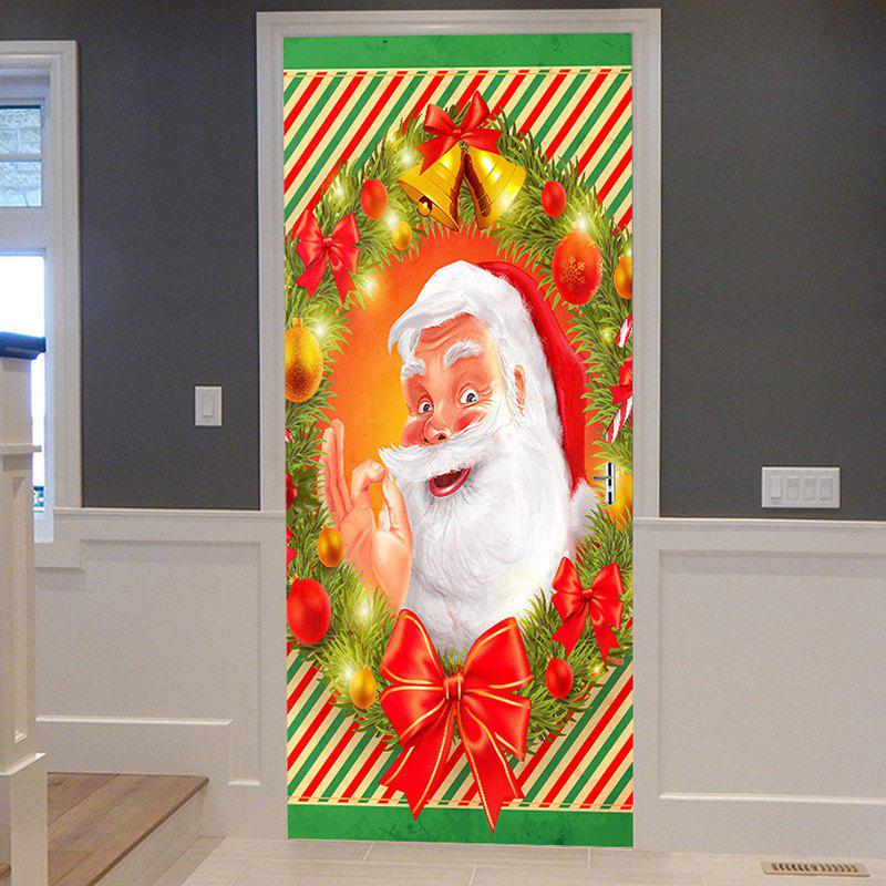 Shop Christmas Smile Santa Claus Printed Decorative Door Stickers
