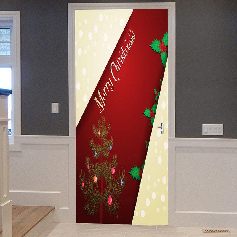 New Merry Christmas Tree Pattern Door Cover Stickers